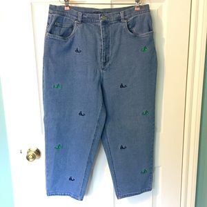 Quacker Factory Whale Jean Capri Pants Cropped 18W